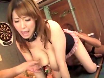 ドMな爆乳人妻が母乳噴出しながら3Pガチハメでアクメイキ!