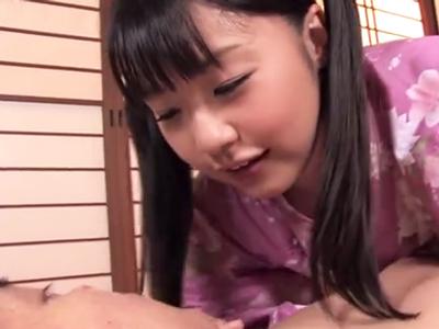 浴衣姿の童顔美少女、つぼみが童貞くんを優しく筆おろしパコ