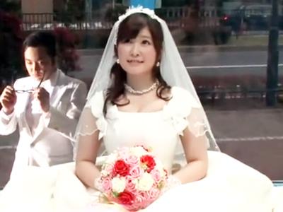結婚式直後の夫婦をMM号連れ込み→ウェディングドレスのまま中出し不倫パコw