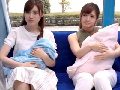 子ども産みたて素人若妻2人組が派手に潮吹きながら悩めるチンポ2本と4P乱交!