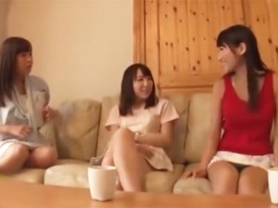 サークル合宿で日焼けした美女3人をデカチンでハメまくる