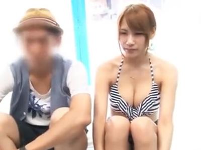 スタイル抜群のショップ店員彼女を彼氏の前で寝取り中出し!