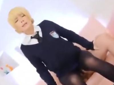 コスプレパンスト美少女をガン突き→顔射!