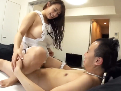 「動くよ‥♪」神乳裸エプロン美女に丁寧ご奉仕SEXしてもらえる幸せ素人男