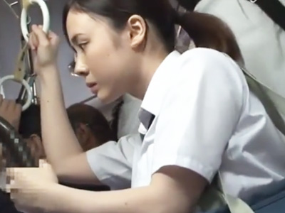 痴漢バスで強姦!背後から制服越しに乳揉みされてハメ倒される巨乳JK
