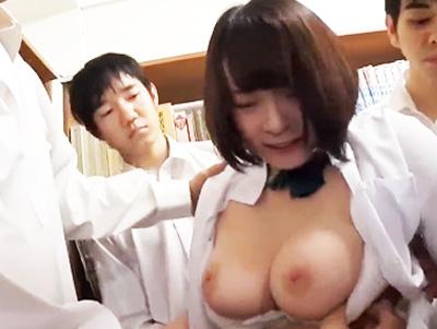 「なに?‥いや‥やめて!」鬼畜男子たちが図書室で美少女JKを襲って獣欲むき出しピスで中出し輪姦レイプ!