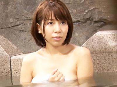 巨乳妻が混浴温泉で知らない男性ナンパされて寝取られてしまう様子を盗撮