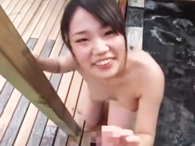 「気持ち良くしてあげるっ」献身的な美少女と温泉で3P中出しファック