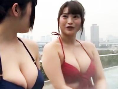温水プールでナンパされた爆乳お姉さんが簡単に股を開いてハメ撮りパコw
