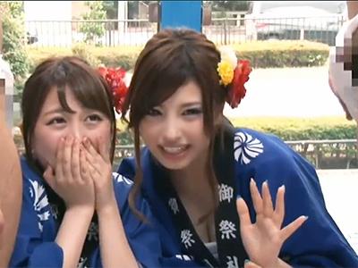 お祭りでテンション上がってるハッピ女子2人組をゲット→MM号でわっしょい4Pファックww