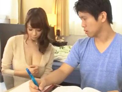 家庭教師の巨乳が気になって勉強に集中できず→そのまま性欲解消パコ