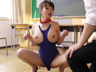 Hカップの爆乳教師が生徒にペットとして躾けられ教室でザーメン懇願w