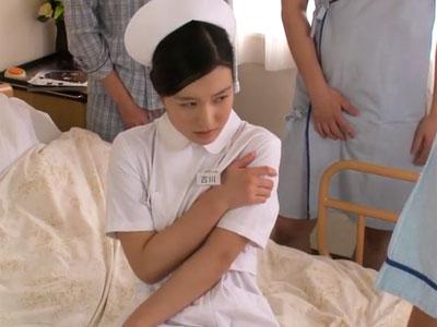 色白な清楚看護師が欲情した患者たちに襲われて→強制アクメ展開