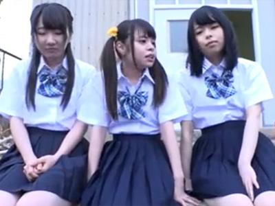 AカップのビッチJK3人組が教師を誘惑して学校内でエッチに大暴れ!