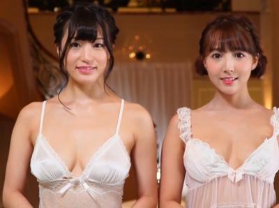 高橋しょう子&三上悠亜の2大女優に金玉からっからにされる夢の3P