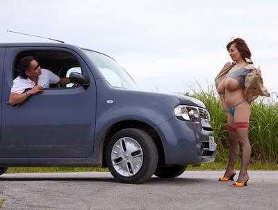 「もっと…ちょうらぃ!」爆乳で車を止める痴女さんと性欲むき出しの青姦パコ